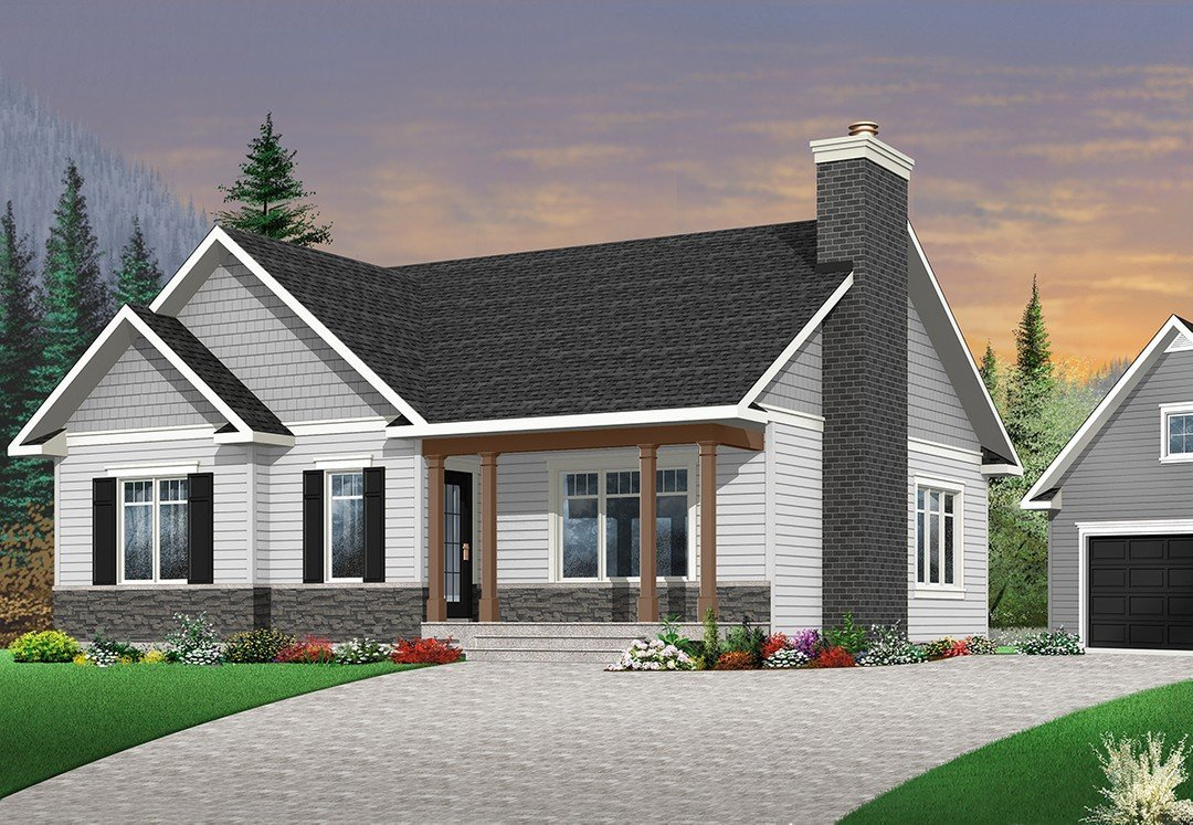 Front Rendering for Home Plan: 728-3147 | 1531 Heated SqFt | 3 Bed | 2 Bath
